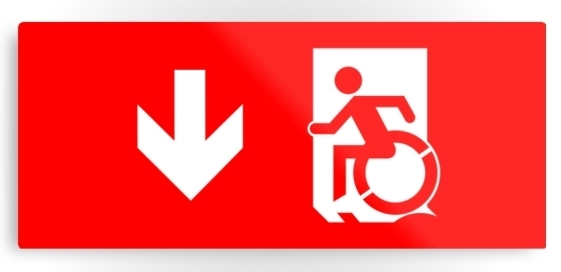 Accessible Means of Egress Icon Exit Sign Wheelchair Wheelie Running Man Symbol by Lee Wilson PWD Disability Emergency Evacuation Metal Printed 126