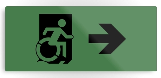 Accessible Means of Egress Icon Exit Sign Wheelchair Wheelie Running Man Symbol by Lee Wilson PWD Disability Emergency Evacuation Metal Printed 13