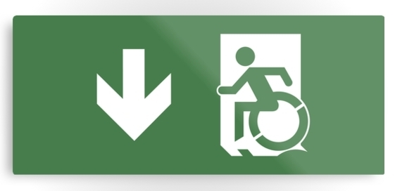 Accessible Means of Egress Icon Exit Sign Wheelchair Wheelie Running Man Symbol by Lee Wilson PWD Disability Emergency Evacuation Metal Printed 14