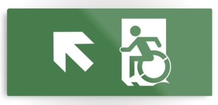 Accessible Means of Egress Icon Exit Sign Wheelchair Wheelie Running Man Symbol by Lee Wilson PWD Disability Emergency Evacuation Metal Printed 16