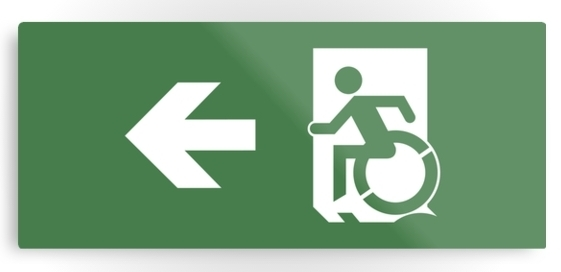 Accessible Means of Egress Icon Exit Sign Wheelchair Wheelie Running Man Symbol by Lee Wilson PWD Disability Emergency Evacuation Metal Printed 17