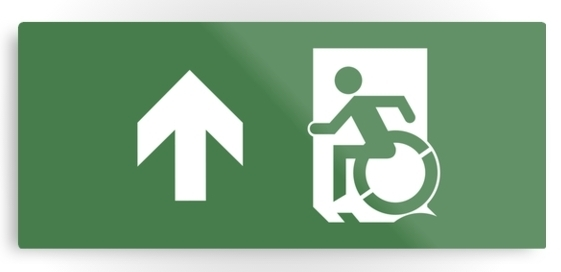 Accessible Means of Egress Icon Exit Sign Wheelchair Wheelie Running Man Symbol by Lee Wilson PWD Disability Emergency Evacuation Metal Printed 18