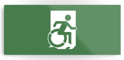 Accessible Means of Egress Icon Exit Sign Wheelchair Wheelie Running Man Symbol by Lee Wilson PWD Disability Emergency Evacuation Metal Printed 19