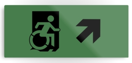 Accessible Means of Egress Icon Exit Sign Wheelchair Wheelie Running Man Symbol by Lee Wilson PWD Disability Emergency Evacuation Metal Printed 2