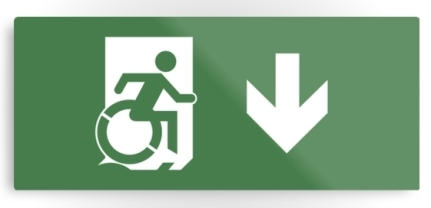 Accessible Means of Egress Icon Exit Sign Wheelchair Wheelie Running Man Symbol by Lee Wilson PWD Disability Emergency Evacuation Metal Printed 20