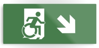 Accessible Means of Egress Icon Exit Sign Wheelchair Wheelie Running Man Symbol by Lee Wilson PWD Disability Emergency Evacuation Metal Printed 21