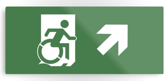 Accessible Means of Egress Icon Exit Sign Wheelchair Wheelie Running Man Symbol by Lee Wilson PWD Disability Emergency Evacuation Metal Printed 22