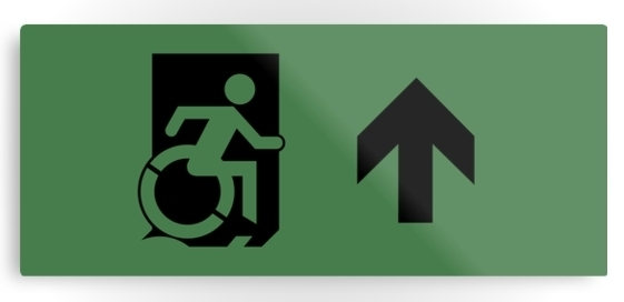 Accessible Means of Egress Icon Exit Sign Wheelchair Wheelie Running Man Symbol by Lee Wilson PWD Disability Emergency Evacuation Metal Printed 24
