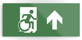 Accessible Means of Egress Icon Exit Sign Wheelchair Wheelie Running Man Symbol by Lee Wilson PWD Disability Emergency Evacuation Metal Printed 25
