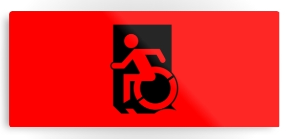 Accessible Means of Egress Icon Exit Sign Wheelchair Wheelie Running Man Symbol by Lee Wilson PWD Disability Emergency Evacuation Metal Printed 26