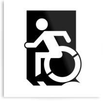 Accessible Means of Egress Icon Exit Sign Wheelchair Wheelie Running Man Symbol by Lee Wilson PWD Disability Emergency Evacuation Metal Printed 27