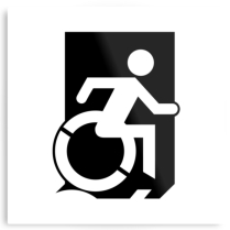 Accessible Means of Egress Icon Exit Sign Wheelchair Wheelie Running Man Symbol by Lee Wilson PWD Disability Emergency Evacuation Metal Printed 28