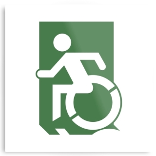 Accessible Means of Egress Icon Exit Sign Wheelchair Wheelie Running Man Symbol by Lee Wilson PWD Disability Emergency Evacuation Metal Printed 29