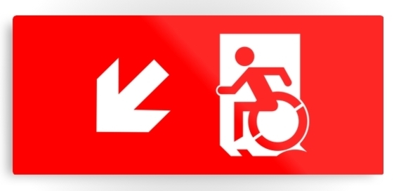 Accessible Means of Egress Icon Exit Sign Wheelchair Wheelie Running Man Symbol by Lee Wilson PWD Disability Emergency Evacuation Metal Printed 3