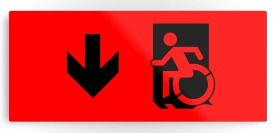 Accessible Means of Egress Icon Exit Sign Wheelchair Wheelie Running Man Symbol by Lee Wilson PWD Disability Emergency Evacuation Metal Printed 30