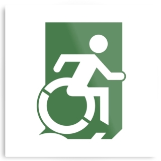 Accessible Means of Egress Icon Exit Sign Wheelchair Wheelie Running Man Symbol by Lee Wilson PWD Disability Emergency Evacuation Metal Printed 31