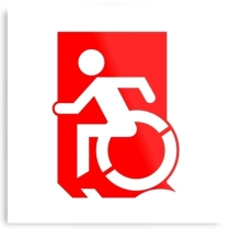 Accessible Means of Egress Icon Exit Sign Wheelchair Wheelie Running Man Symbol by Lee Wilson PWD Disability Emergency Evacuation Metal Printed 32