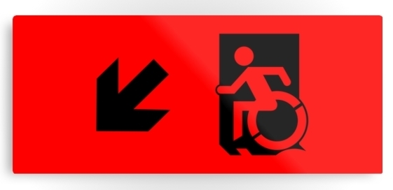 Accessible Means of Egress Icon Exit Sign Wheelchair Wheelie Running Man Symbol by Lee Wilson PWD Disability Emergency Evacuation Metal Printed 33