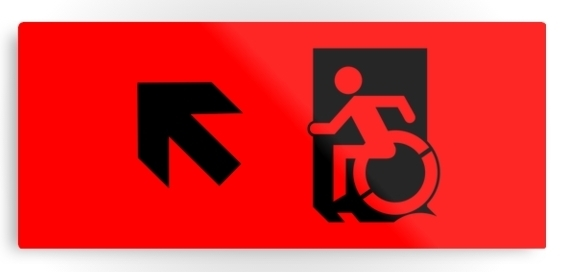 Accessible Means of Egress Icon Exit Sign Wheelchair Wheelie Running Man Symbol by Lee Wilson PWD Disability Emergency Evacuation Metal Printed 34