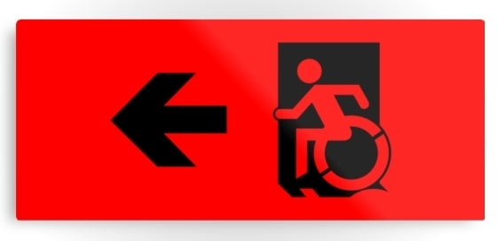 Accessible Means of Egress Icon Exit Sign Wheelchair Wheelie Running Man Symbol by Lee Wilson PWD Disability Emergency Evacuation Metal Printed 35