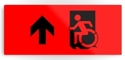 Accessible Means of Egress Icon Exit Sign Wheelchair Wheelie Running Man Symbol by Lee Wilson PWD Disability Emergency Evacuation Metal Printed 36