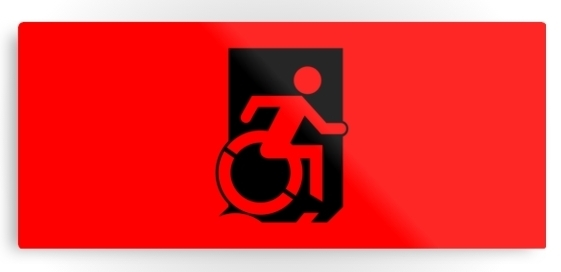 Accessible Means of Egress Icon Exit Sign Wheelchair Wheelie Running Man Symbol by Lee Wilson PWD Disability Emergency Evacuation Metal Printed 37
