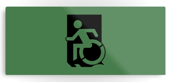 Accessible Means of Egress Icon Exit Sign Wheelchair Wheelie Running Man Symbol by Lee Wilson PWD Disability Emergency Evacuation Metal Printed 38