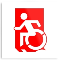 Accessible Means of Egress Icon Exit Sign Wheelchair Wheelie Running Man Symbol by Lee Wilson PWD Disability Emergency Evacuation Metal Printed 39