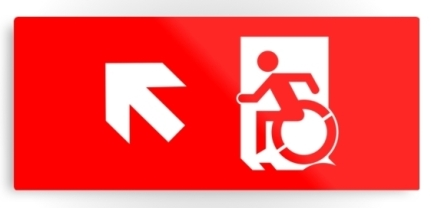 Accessible Means of Egress Icon Exit Sign Wheelchair Wheelie Running Man Symbol by Lee Wilson PWD Disability Emergency Evacuation Metal Printed 4