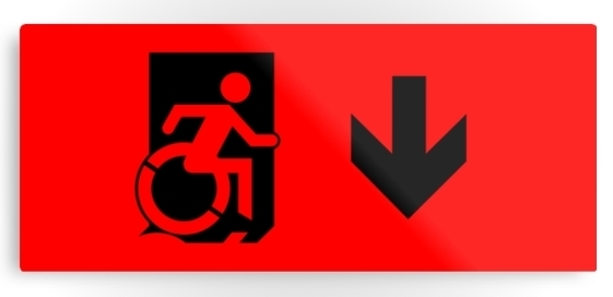 Accessible Means of Egress Icon Exit Sign Wheelchair Wheelie Running Man Symbol by Lee Wilson PWD Disability Emergency Evacuation Metal Printed 40