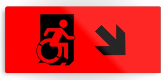 Accessible Means of Egress Icon Exit Sign Wheelchair Wheelie Running Man Symbol by Lee Wilson PWD Disability Emergency Evacuation Metal Printed 41