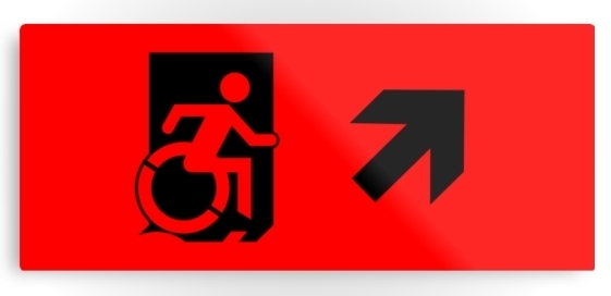 Accessible Means of Egress Icon Exit Sign Wheelchair Wheelie Running Man Symbol by Lee Wilson PWD Disability Emergency Evacuation Metal Printed 42