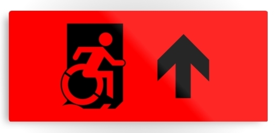 Accessible Means of Egress Icon Exit Sign Wheelchair Wheelie Running Man Symbol by Lee Wilson PWD Disability Emergency Evacuation Metal Printed 44