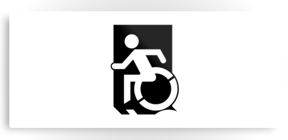 Accessible Means of Egress Icon Exit Sign Wheelchair Wheelie Running Man Symbol by Lee Wilson PWD Disability Emergency Evacuation Metal Printed 45