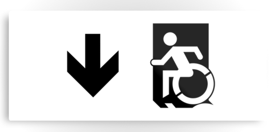 Accessible Means of Egress Icon Exit Sign Wheelchair Wheelie Running Man Symbol by Lee Wilson PWD Disability Emergency Evacuation Metal Printed 46