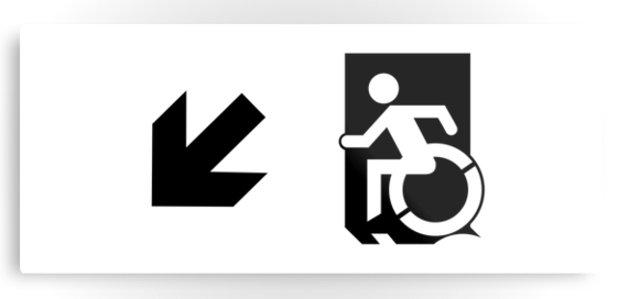 Accessible Means of Egress Icon Exit Sign Wheelchair Wheelie Running Man Symbol by Lee Wilson PWD Disability Emergency Evacuation Metal Printed 47