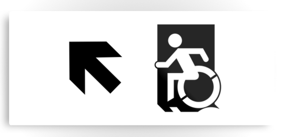 Accessible Means of Egress Icon Exit Sign Wheelchair Wheelie Running Man Symbol by Lee Wilson PWD Disability Emergency Evacuation Metal Printed 48