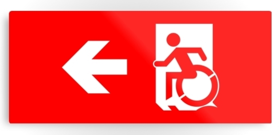 Accessible Means of Egress Icon Exit Sign Wheelchair Wheelie Running Man Symbol by Lee Wilson PWD Disability Emergency Evacuation Metal Printed 5
