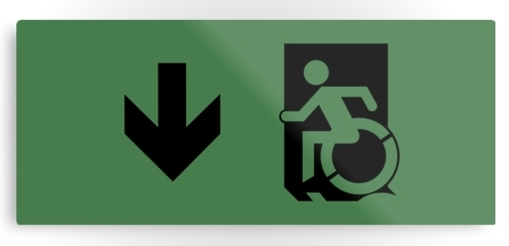 Accessible Means of Egress Icon Exit Sign Wheelchair Wheelie Running Man Symbol by Lee Wilson PWD Disability Emergency Evacuation Metal Printed 50
