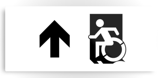Accessible Means of Egress Icon Exit Sign Wheelchair Wheelie Running Man Symbol by Lee Wilson PWD Disability Emergency Evacuation Metal Printed 51