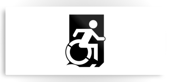 Accessible Means of Egress Icon Exit Sign Wheelchair Wheelie Running Man Symbol by Lee Wilson PWD Disability Emergency Evacuation Metal Printed 52