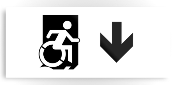 Accessible Means of Egress Icon Exit Sign Wheelchair Wheelie Running Man Symbol by Lee Wilson PWD Disability Emergency Evacuation Metal Printed 53