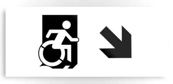 Accessible Means of Egress Icon Exit Sign Wheelchair Wheelie Running Man Symbol by Lee Wilson PWD Disability Emergency Evacuation Metal Printed 54