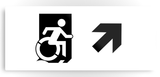 Accessible Means of Egress Icon Exit Sign Wheelchair Wheelie Running Man Symbol by Lee Wilson PWD Disability Emergency Evacuation Metal Printed 55
