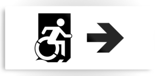 Accessible Means of Egress Icon Exit Sign Wheelchair Wheelie Running Man Symbol by Lee Wilson PWD Disability Emergency Evacuation Metal Printed 56