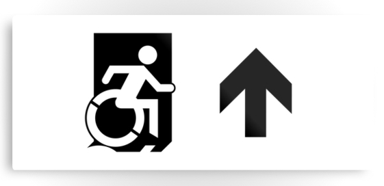 Accessible Means of Egress Icon Exit Sign Wheelchair Wheelie Running Man Symbol by Lee Wilson PWD Disability Emergency Evacuation Metal Printed 57