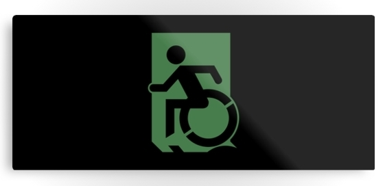 Accessible Means of Egress Icon Exit Sign Wheelchair Wheelie Running Man Symbol by Lee Wilson PWD Disability Emergency Evacuation Metal Printed 58