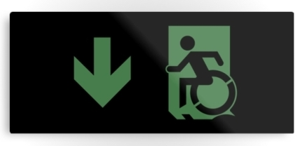 Accessible Means of Egress Icon Exit Sign Wheelchair Wheelie Running Man Symbol by Lee Wilson PWD Disability Emergency Evacuation Metal Printed 59