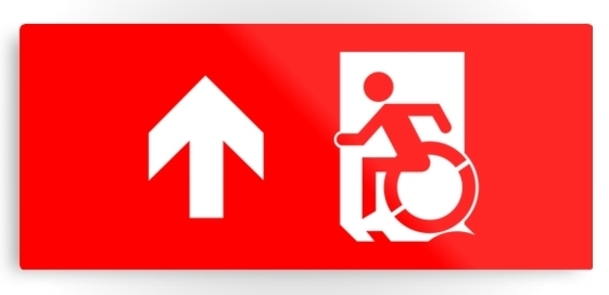 Accessible Means of Egress Icon Exit Sign Wheelchair Wheelie Running Man Symbol by Lee Wilson PWD Disability Emergency Evacuation Metal Printed 6