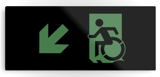 Accessible Means of Egress Icon Exit Sign Wheelchair Wheelie Running Man Symbol by Lee Wilson PWD Disability Emergency Evacuation Metal Printed 60